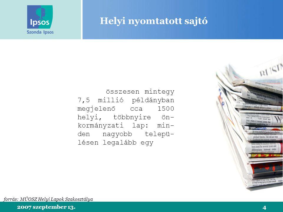2007 szeptember 13.15 Helyi televízió nézettsége Projektált napi nézőarány: 15% forrás: Szonda Ipsos helyi televíziós kutatás, 2006 bázis: kábeltelevíziós előfizetéssel rendelkező 15-59 éves helyi lakosok