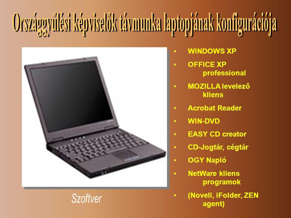 •WINDOWS XP •OFFICE XP professional •MOZILLA levelező kliens •Acrobat Reader •WIN-DVD •EASY CD creator •CD-Jogtár, cégtár •OGY Napló •NetWare kliens programok •(Novell, iFolder, ZEN agent)