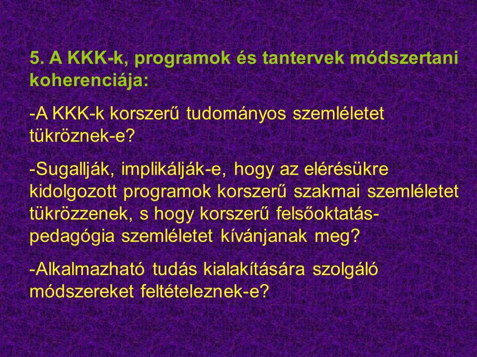 5. A KKK-k, programok és tantervek módszertani koherenciája: -A KKK-k korszerű tudományos szemléletet tükröznek-e? -Sugallják, implikálják-e, hogy az