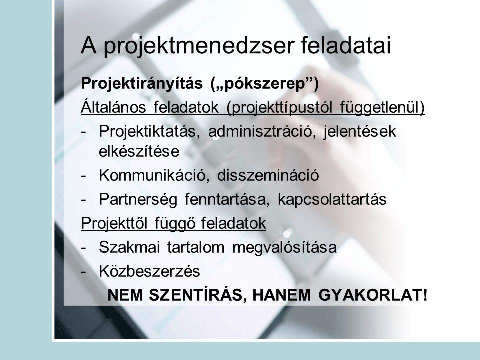 """A projektmenedzser feladatai Projektirányítás (""""pókszerep ) Általános feladatok (projekttípustól függetlenül) -Projektiktatás, adminisztráció, jelentések elkészítése -Kommunikáció, disszemináció -Partnerség fenntartása, kapcsolattartás Projekttől függő feladatok -Szakmai tartalom megvalósítása -Közbeszerzés NEM SZENTÍRÁS, HANEM GYAKORLAT!"""