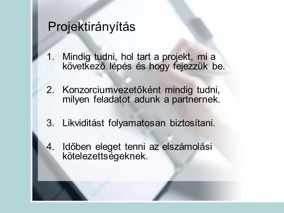 Projektirányítás 1.Mindig tudni, hol tart a projekt, mi a következő lépés és hogy fejezzük be.