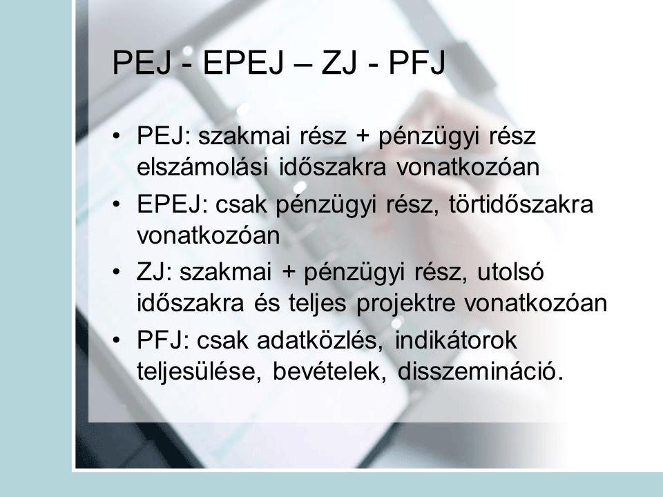 PEJ - EPEJ – ZJ - PFJ •PEJ: szakmai rész + pénzügyi rész elszámolási időszakra vonatkozóan •EPEJ: csak pénzügyi rész, törtidőszakra vonatkozóan •ZJ: szakmai + pénzügyi rész, utolsó időszakra és teljes projektre vonatkozóan •PFJ: csak adatközlés, indikátorok teljesülése, bevételek, disszemináció.