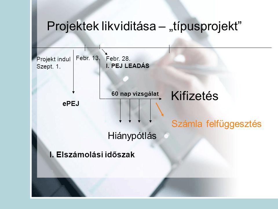 """Projektek likviditása – """"típusprojekt"""" Projekt indul Szept. 1. I. Elszámolási időszak Febr. 13. Febr. 28. I. PEJ LEADÁS 60 nap vizsgálat Kifizetés Hiá"""
