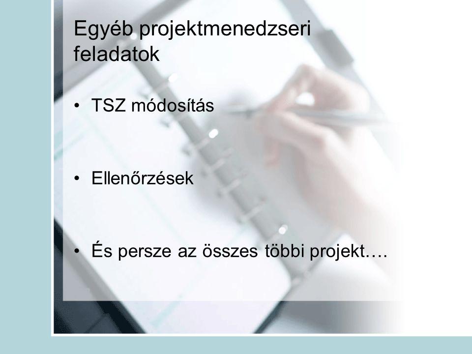 Egyéb projektmenedzseri feladatok •TSZ módosítás •Ellenőrzések •És persze az összes többi projekt….
