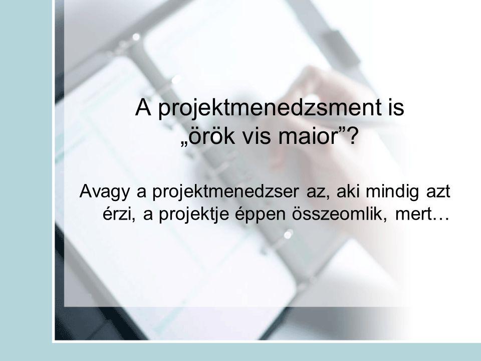 """A projektmenedzsment is """"örök vis maior""""? Avagy a projektmenedzser az, aki mindig azt érzi, a projektje éppen összeomlik, mert…"""
