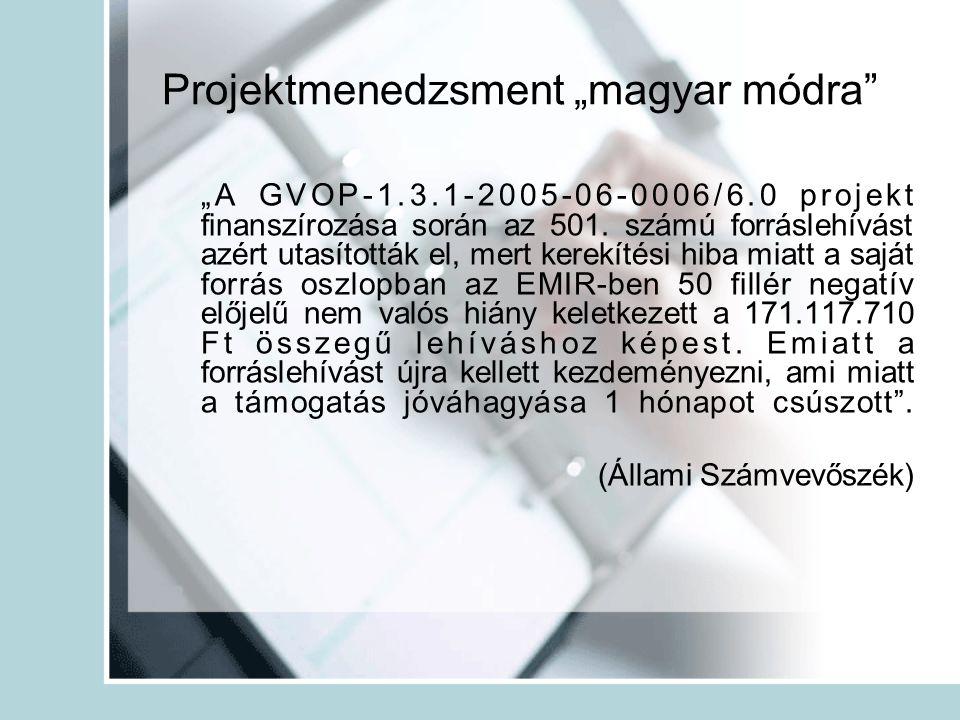 """Projektmenedzsment """"magyar módra"""" """"A GVOP-1.3.1-2005-06-0006/6.0 projekt finanszírozása során az 501. számú forráslehívást azért utasították el, mert"""