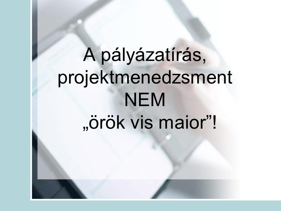 """A pályázatírás, projektmenedzsment NEM """"örök vis maior""""!"""