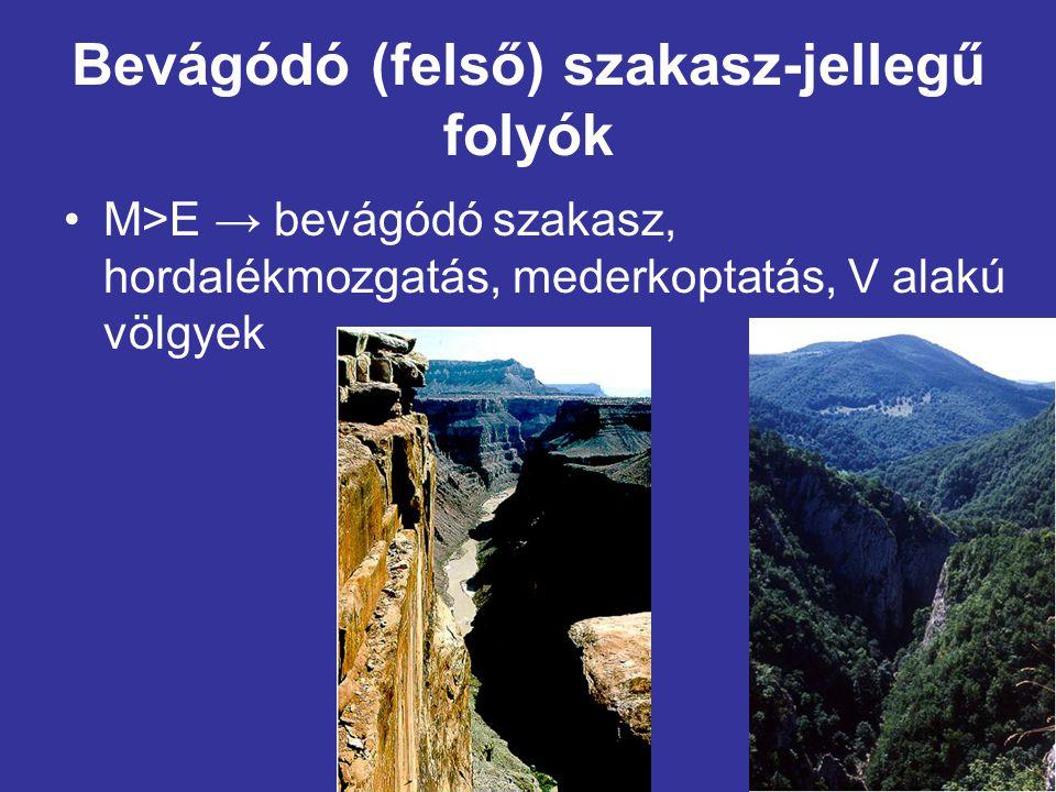 Készítette: Kocsi Attila Bevágódó (felső) szakasz-jellegű folyók •M>E → bevágódó szakasz, hordalékmozgatás, mederkoptatás, V alakú völgyek