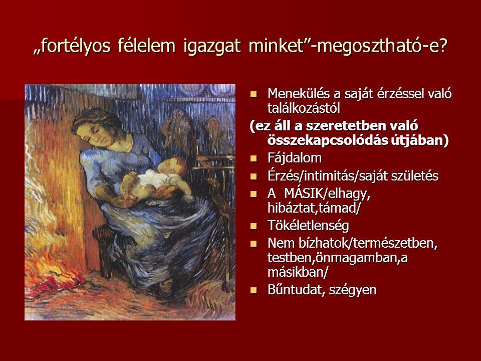 """""""Bölcsek a bölcsőben – csecsemők a terápiában  Az Én elkülönüléséig a gyerek pszichéje az anyai tudattalanban lebeg  """"A participation mystique révén a gyermek érzékeli a szülők konfliktusait és annyira szenved tőlük, mintha azok sajátjai volnának. (Jung)  Ha az anya visszaveszi a saját érzéseit, a gyerek tehermentesül  """"Menekülési kísérletek: sírás, a szoba elhagyása  Szövegértés a preverbális korban  """"Terápiás egyezség a babával"""