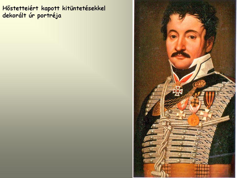 Hőstetteiért kapott kitüntetésekkel dekorált úr portréja