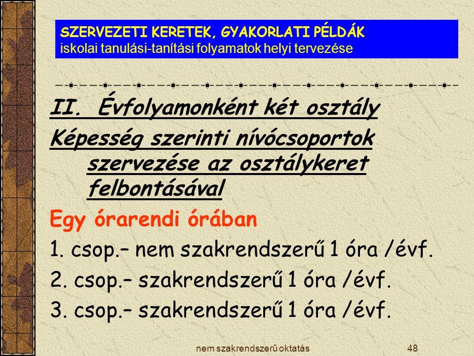 nem szakrendszerű oktatás48 SZERVEZETI KERETEK, GYAKORLATI PÉLDÁK iskolai tanulási-tanítási folyamatok helyi tervezése II.