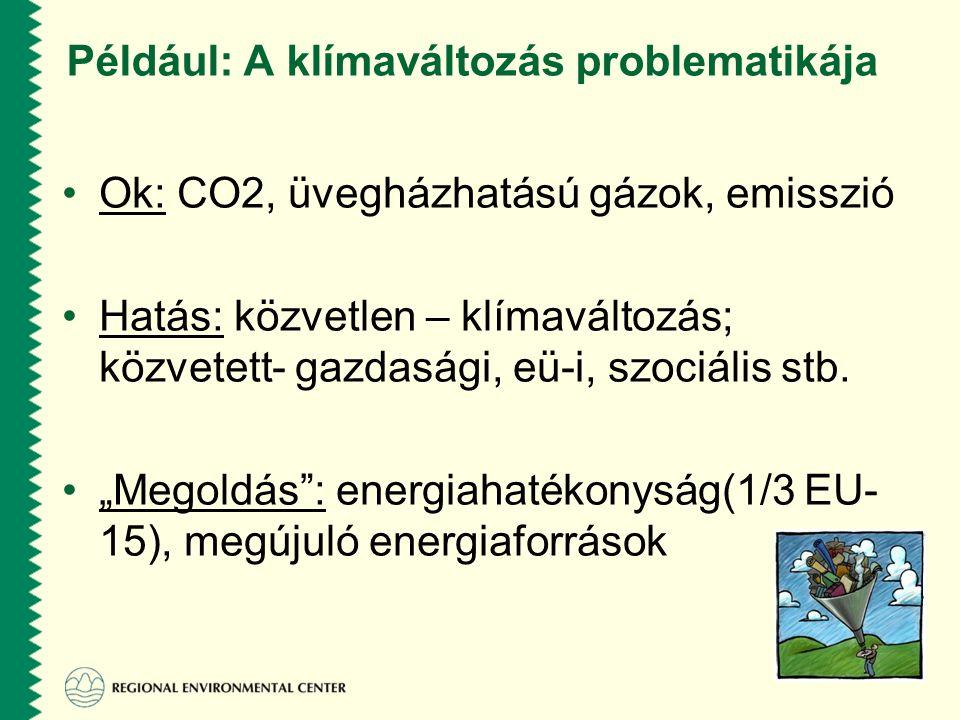 Például: A klímaváltozás problematikája •Ok: CO2, üvegházhatású gázok, emisszió •Hatás: közvetlen – klímaváltozás; közvetett- gazdasági, eü-i, szociális stb.