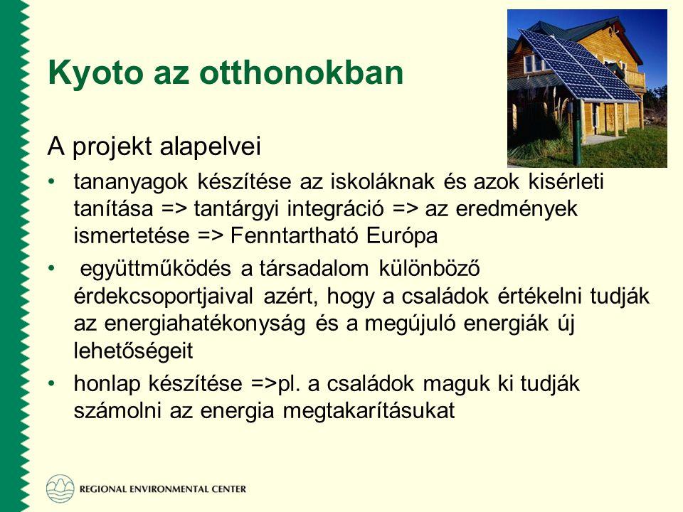 Kyoto az otthonokban A projekt alapelvei •tananyagok készítése az iskoláknak és azok kisérleti tanítása => tantárgyi integráció => az eredmények ismertetése => Fenntartható Európa • együttműködés a társadalom különböző érdekcsoportjaival azért, hogy a családok értékelni tudják az energiahatékonyság és a megújuló energiák új lehetőségeit •honlap készítése =>pl.