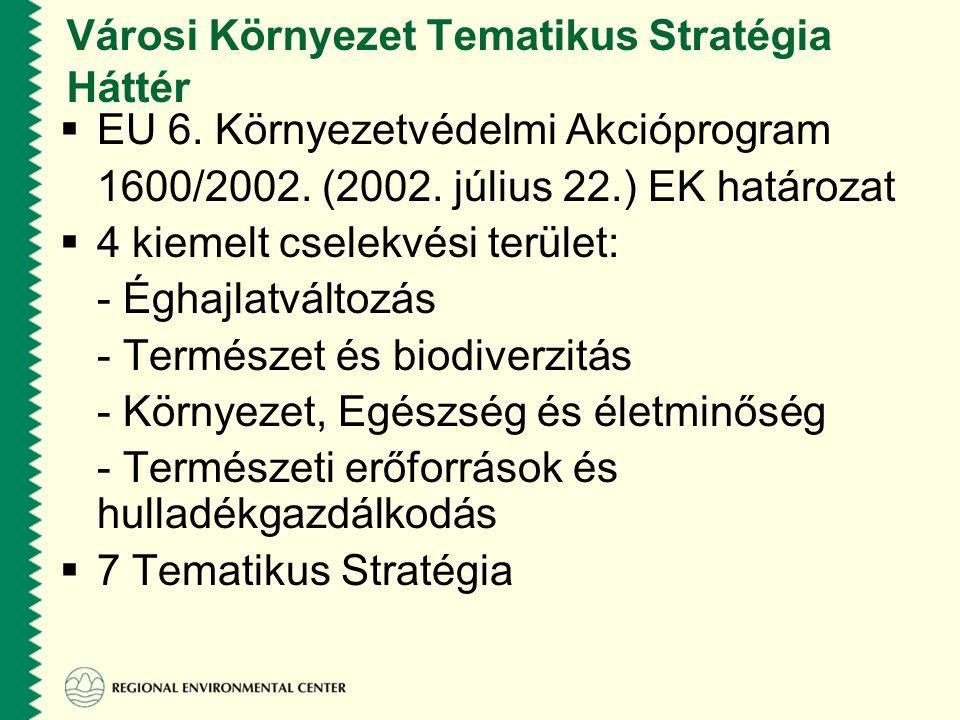 Városi Környezet Tematikus Stratégia Háttér  EU 6.