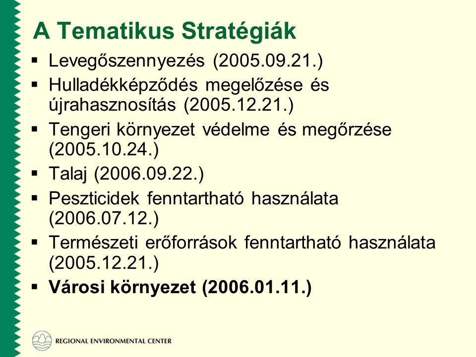 A Tematikus Stratégiák  Levegőszennyezés (2005.09.21.)  Hulladékképződés megelőzése és újrahasznosítás (2005.12.21.)  Tengeri környezet védelme és megőrzése (2005.10.24.)  Talaj (2006.09.22.)  Peszticidek fenntartható használata (2006.07.12.)  Természeti erőforrások fenntartható használata (2005.12.21.)  Városi környezet (2006.01.11.)