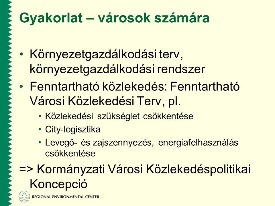 Gyakorlat – városok számára •Környezetgazdálkodási terv, környezetgazdálkodási rendszer •Fenntartható közlekedés: Fenntartható Városi Közlekedési Terv, pl.