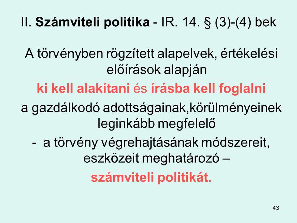 43 II.Számviteli politika - IR. 14.