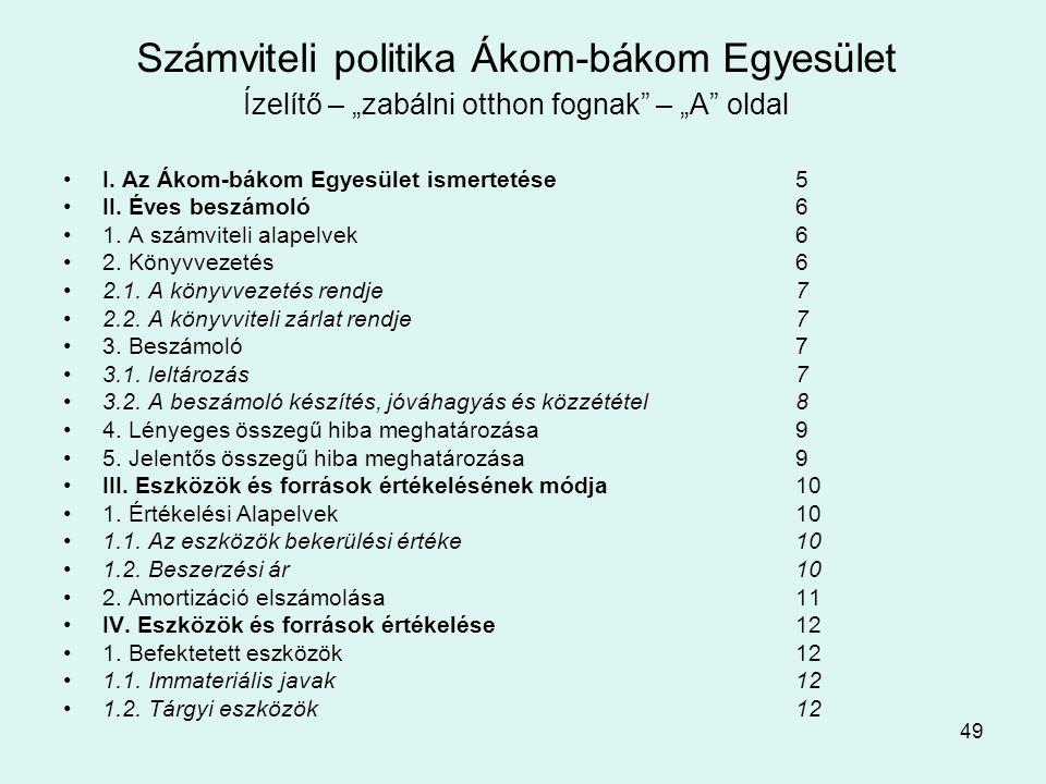 """49 Számviteli politika Ákom-bákom Egyesület Ízelítő – """"zabálni otthon fognak – """"A oldal •I."""