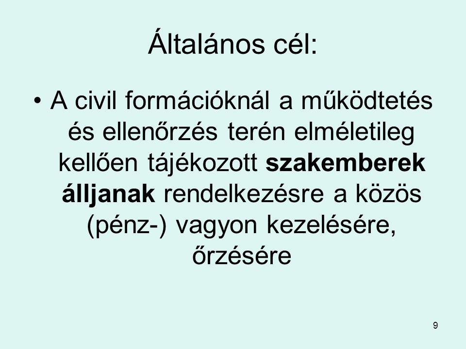9 Általános cél: •A civil formációknál a működtetés és ellenőrzés terén elméletileg kellően tájékozott szakemberek álljanak rendelkezésre a közös (pénz-) vagyon kezelésére, őrzésére