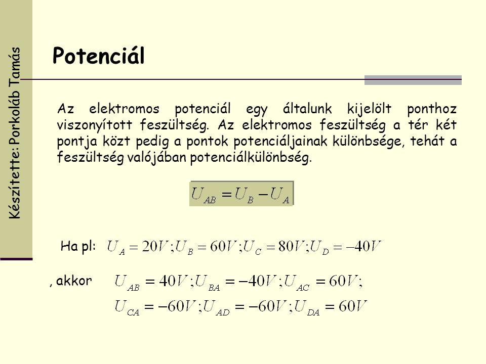 Az elektromos potenciál egy általunk kijelölt ponthoz viszonyított feszültség. Az elektromos feszültség a tér két pontja közt pedig a pontok potenciál