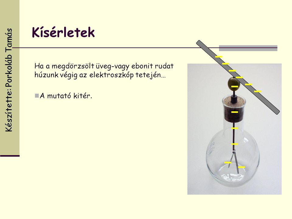 Ha a megdörzsölt üveg-vagy ebonit rudat húzunk végig az elektroszkóp tetején…  A mutató kitér. Kísérletek Készítette: Porkoláb Tamás