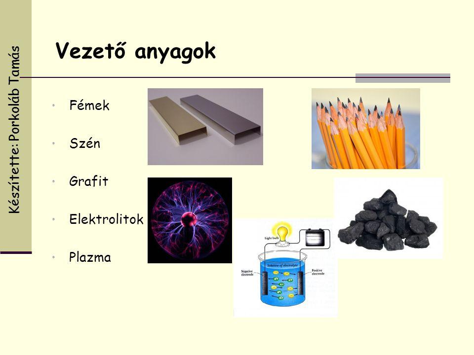 Vezető anyagok • Fémek • Szén • Grafit • Elektrolitok • Plazma Készítette: Porkoláb Tamás