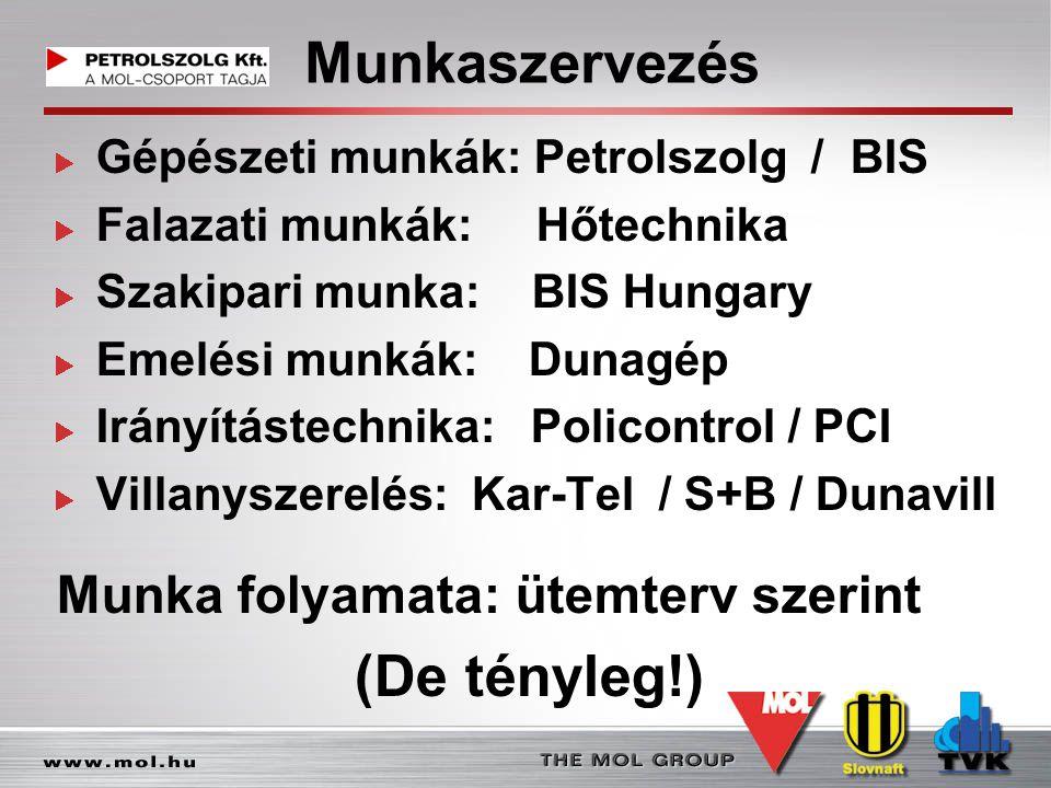 Munkaszervezés Gépészeti munkák: Petrolszolg / BIS Falazati munkák: Hőtechnika Szakipari munka: BIS Hungary Emelési munkák: Dunagép Irányítástechnika: