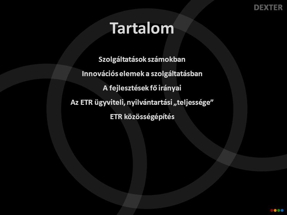 """Tartalom Szolgáltatások számokban Innovációs elemek a szolgáltatásban A fejlesztések fő irányai Az ETR ügyviteli, nyilvántartási """"teljessége ETR közösségépítés"""