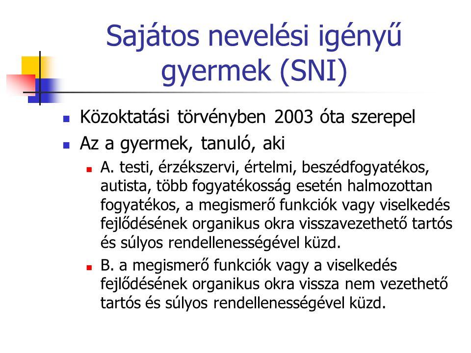 Sajátos nevelési igényű gyermek (SNI)  Közoktatási törvényben 2003 óta szerepel  Az a gyermek, tanuló, aki  A. testi, érzékszervi, értelmi, beszédf