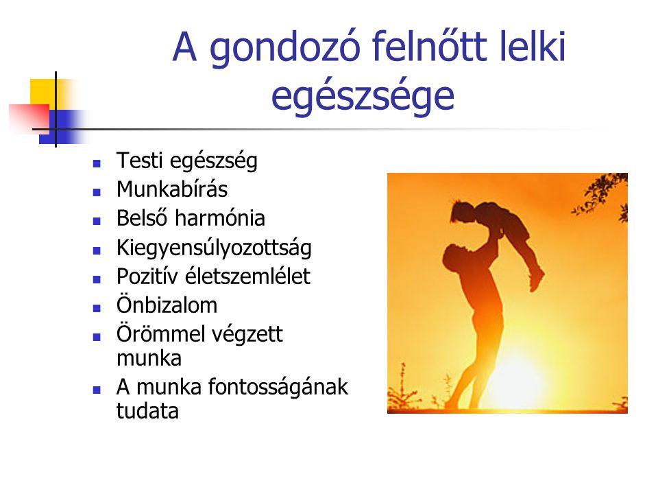 A gondozó felnőtt lelki egészsége  Testi egészség  Munkabírás  Belső harmónia  Kiegyensúlyozottság  Pozitív életszemlélet  Önbizalom  Örömmel v