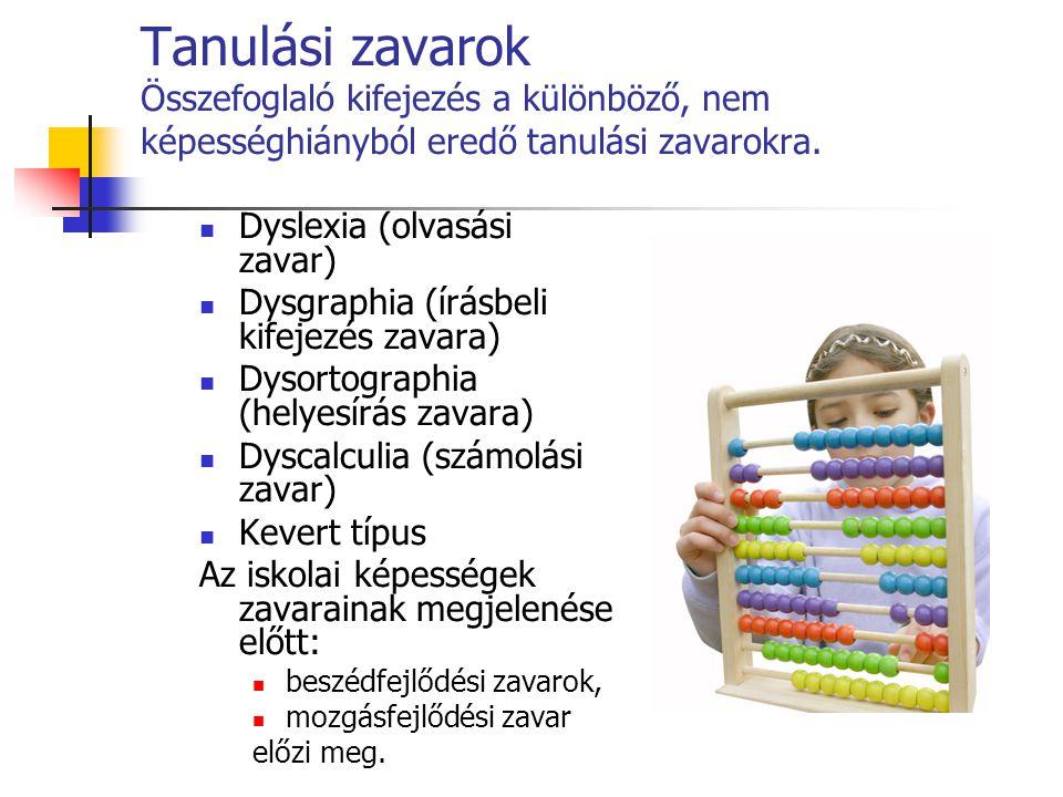 Tanulási zavarok Összefoglaló kifejezés a különböző, nem képességhiányból eredő tanulási zavarokra.  Dyslexia (olvasási zavar)  Dysgraphia (írásbeli