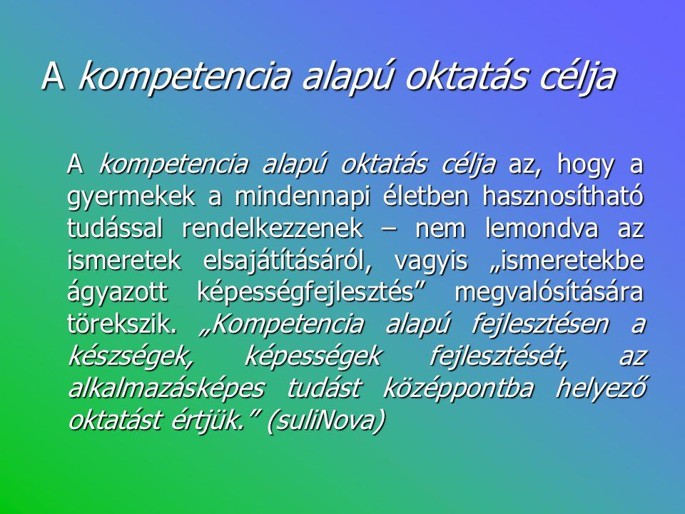 A kompetencia alapú oktatás célja A kompetencia alapú oktatás célja az, hogy a gyermekek a mindennapi életben hasznosítható tudással rendelkezzenek –