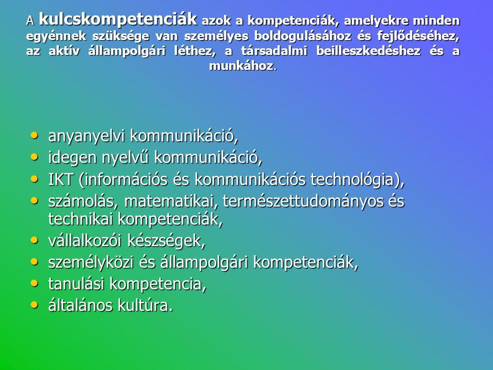 A kulcskompetenciák azok a kompetenciák, amelyekre minden egyénnek szüksége van személyes boldogulásához és fejlődéséhez, az aktív állampolgári léthez