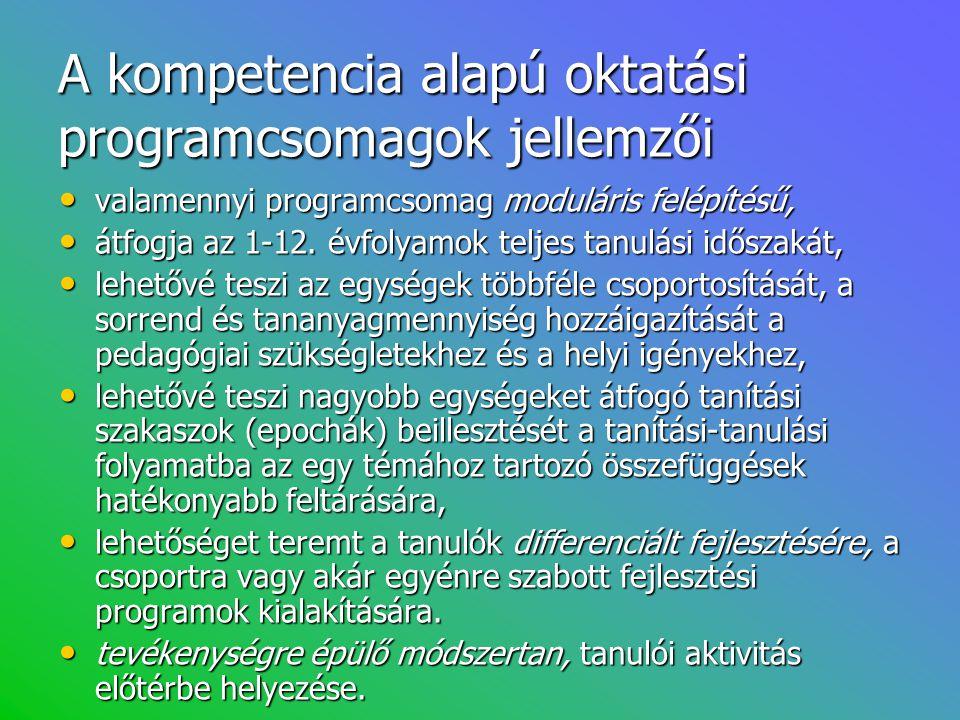 A kompetencia alapú oktatási programcsomagok jellemzői • valamennyi programcsomag moduláris felépítésű, • átfogja az 1-12. évfolyamok teljes tanulási