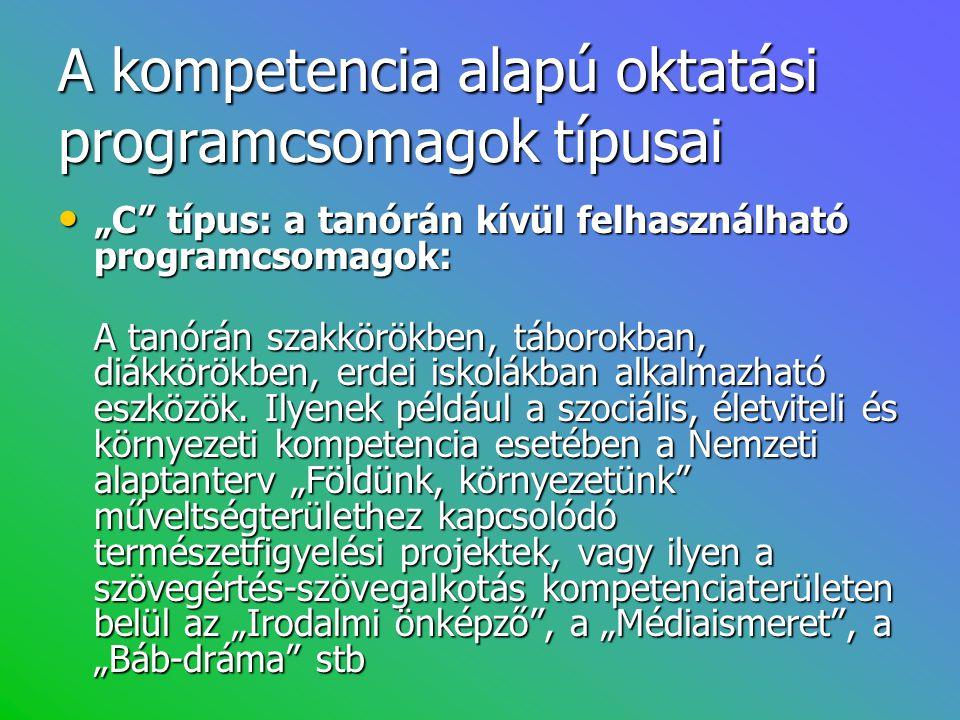 """A kompetencia alapú oktatási programcsomagok típusai • """"C"""" típus: a tanórán kívül felhasználható programcsomagok: A tanórán szakkörökben, táborokban,"""