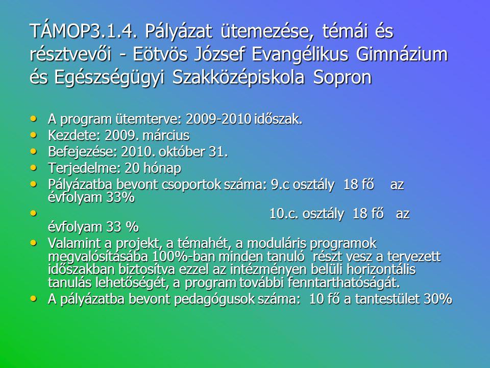 TÁMOP3.1.4. Pályázat ütemezése, témái és résztvevői - Eötvös József Evangélikus Gimnázium és Egészségügyi Szakközépiskola Sopron • A program ütemterve