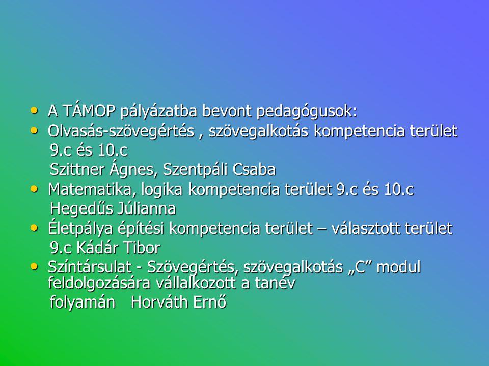 • A TÁMOP pályázatba bevont pedagógusok: • Olvasás-szövegértés, szövegalkotás kompetencia terület 9.c és 10.c 9.c és 10.c Szittner Ágnes, Szentpáli Cs