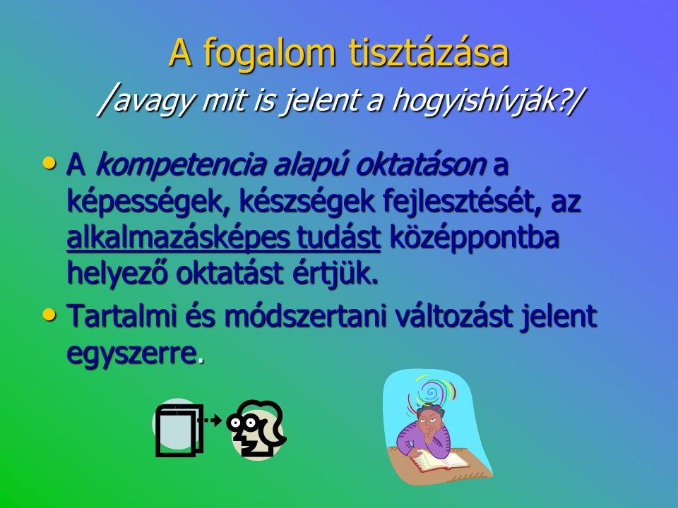 A fogalom tisztázása / avagy mit is jelent a hogyishívják?/ • A kompetencia alapú oktatáson a képességek, készségek fejlesztését, az alkalmazásképes t