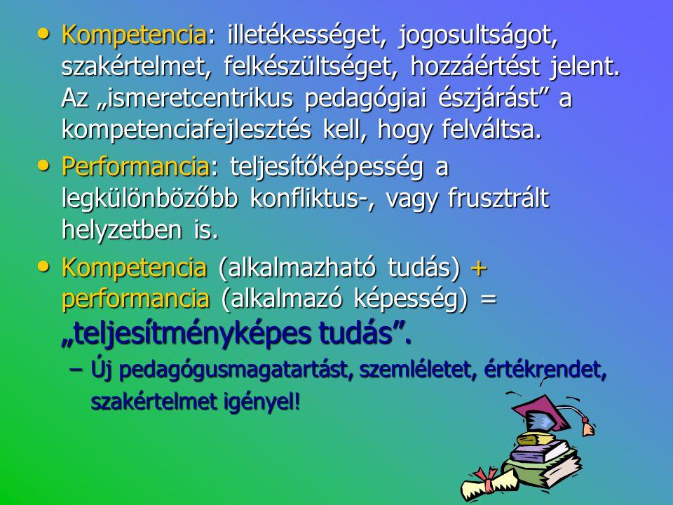 """• Kompetencia: illetékességet, jogosultságot, szakértelmet, felkészültséget, hozzáértést jelent. Az """"ismeretcentrikus pedagógiai észjárást"""" a kompeten"""