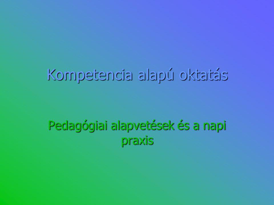 Kompetenciaterületek 1.Anyanyelven folytatott kommunikáció 2.Idegen nyelveken folytatott kommunikáció 3.Matematikai kompetencia és alapvető kompetenciák a természet- és műszaki tudományok terén 4.Digitális kompetencia 5.A tanulás (meg)tanulása; (a tanulni tudás) 6.Interperszonális, interkulturális, szociális és állampolgári kompetencia 7.Vállalkozói kompetencia (kezdeményező- és vállalkozókészség) 8.Kulturális tudatosság és kifejezőkészség