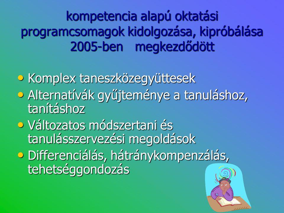 kompetencia alapú oktatási programcsomagok kidolgozása, kipróbálása 2005-ben megkezdődött • Komplex taneszközegyüttesek • Alternatívák gyűjteménye a t
