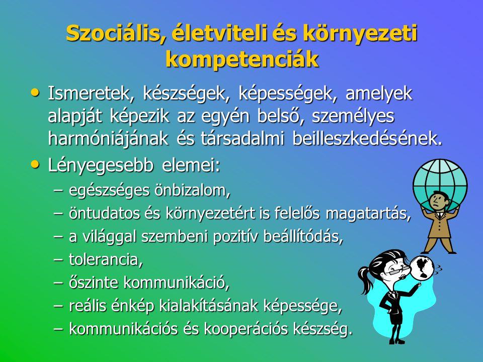 Szociális, életviteli és környezeti kompetenciák • Ismeretek, készségek, képességek, amelyek alapját képezik az egyén belső, személyes harmóniájának é