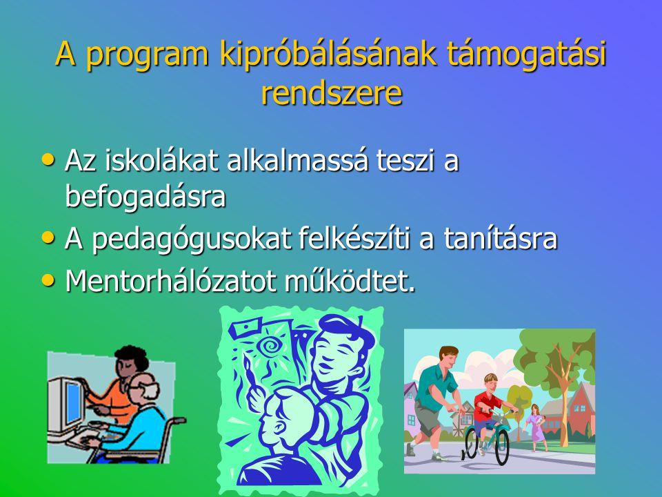A program kipróbálásának támogatási rendszere • Az iskolákat alkalmassá teszi a befogadásra • A pedagógusokat felkészíti a tanításra • Mentorhálózatot