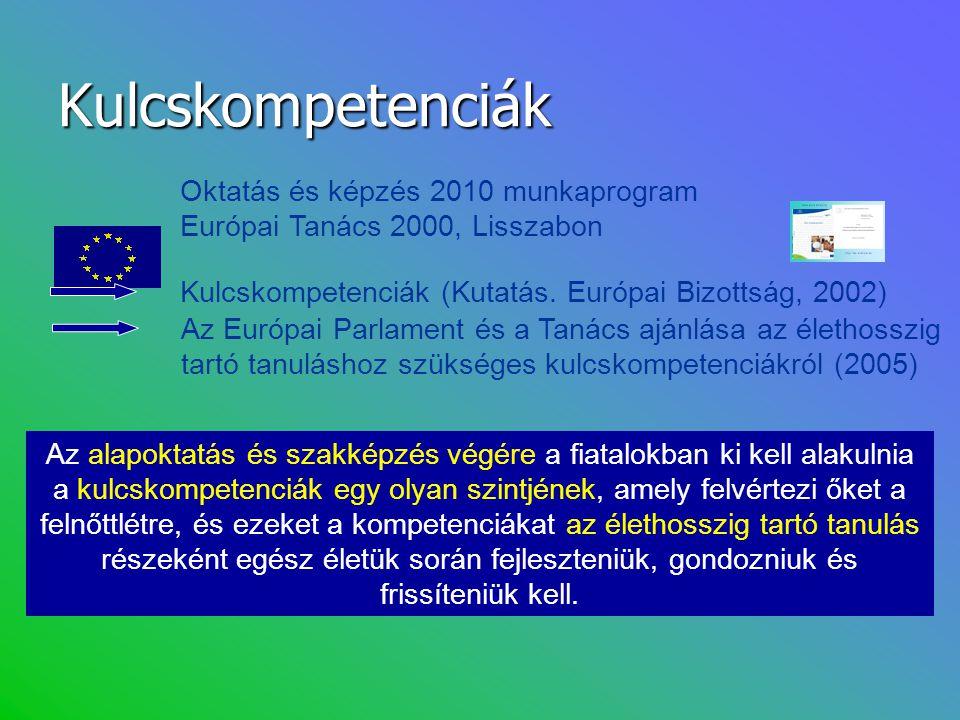 Kulcskompetenciák Oktatás és képzés 2010 munkaprogram Európai Tanács 2000, Lisszabon Kulcskompetenciák (Kutatás. Európai Bizottság, 2002) Az Európai P