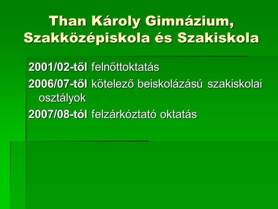 Than Károly Gimnázium, Szakközépiskola és Szakiskola 2001/02-től felnőttoktatás 2006/07-től kötelező beiskolázású szakiskolai osztályok 2007/08-tól fe