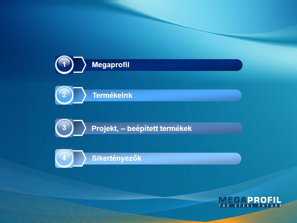 Megaprofil Termékeink Projekt, – beépített termékek Sikertényezők 1 2 3 4