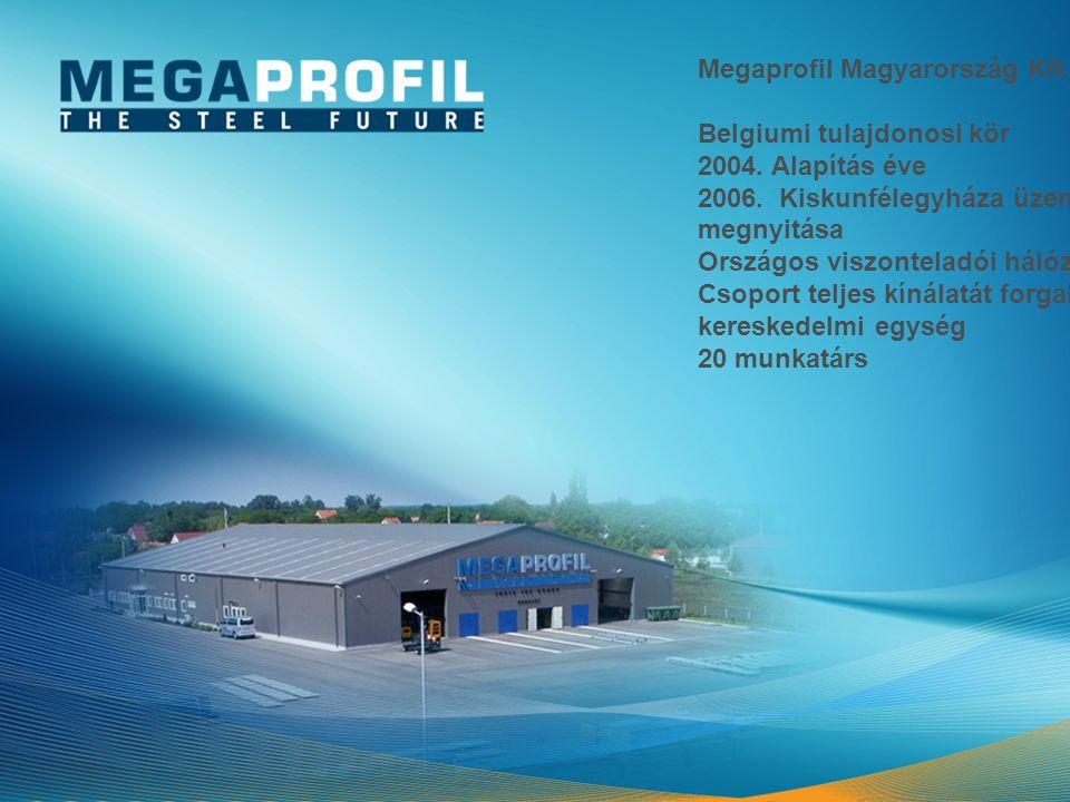 Megaprofil Magyarország Kft. Belgiumi tulajdonosi kör 2004. Alapítás éve 2006. Kiskunfélegyháza üzem megnyitása Országos viszonteladói hálózat Csoport