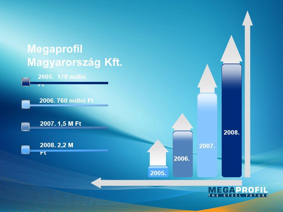 2005. 2006. 2007. 2008. 2008. 2,2 M Ft 2007. 1,5 M Ft 2006. 760 millió Ft 2005. 170 millió Ft MegaprofilMagyarország Kft.