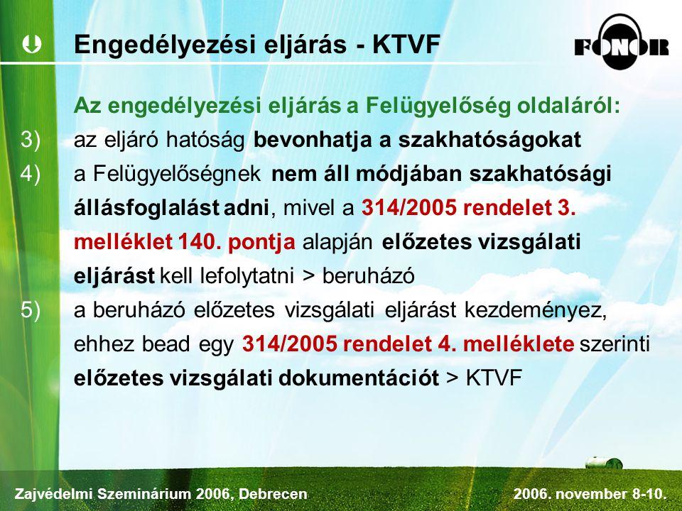 Engedélyezési eljárás - KTVF Az engedélyezési eljárás a Felügyelőség oldaláról:  az eljáró hatóság bevonhatja a szakhatóságokat  a Felügyelőségnek nem áll módjában szakhatósági állásfoglalást adni, mivel a 314/2005 rendelet 3.
