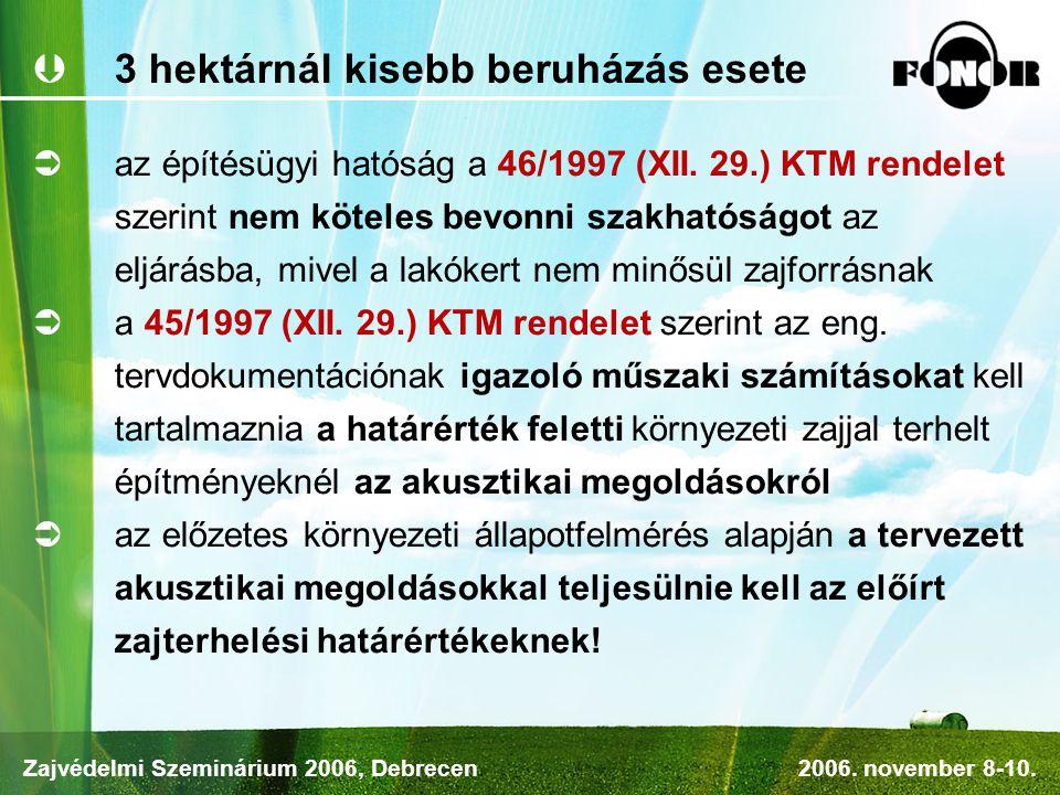  3 hektárnál kisebb beruházás esete  az építésügyi hatóság a 46/1997 (XII.
